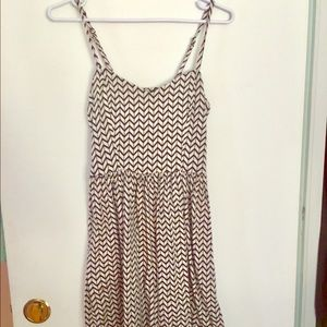 Navy Blue & White patterned Sun Dress with Pockets